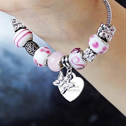 Personalised Butterfly N Heart Charm Bracelet Candy Pink