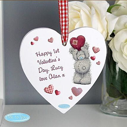 Personalised Me To You Heart Wooden Decoration:Birthday Gifts to UK