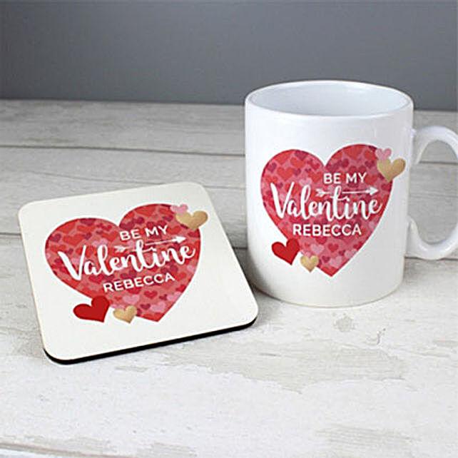 Personalised Valentines Day Confetti Hearts Mug And Coaster Set