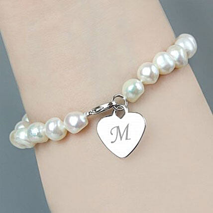 Personalized White Pearl Bracelet