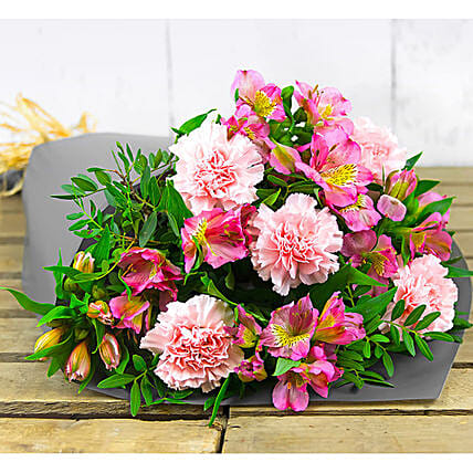 Pink Alstroemeria And Carnations Bouquet:Flower Delivery UK