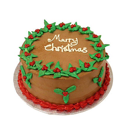 Retro Merry Christmas Chocolate Cake:Christmas Cakes to UK