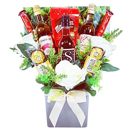 Rose Wine And Chocolate Bouquet