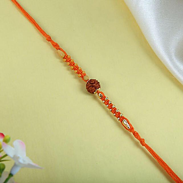 Rudraksh with orange Thread