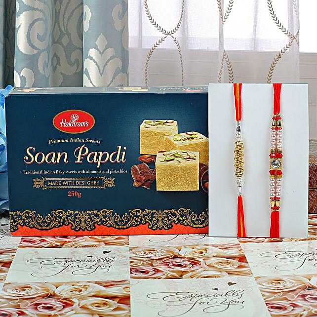 Set Of 2 Designer Rakhi And Sweets Hamper