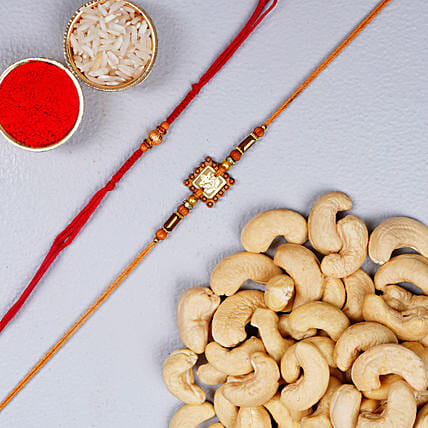 Set Of 2 Rakhis With Dry Fruits