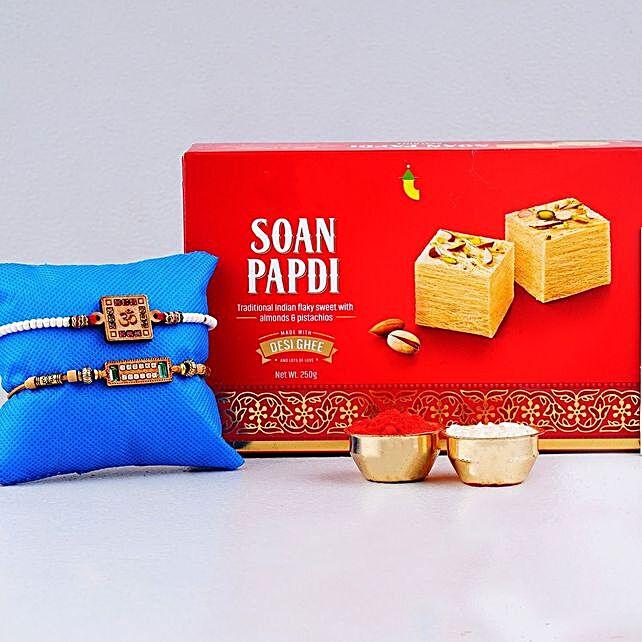 Set Of 2 Rakhis With Soan Papdi Box