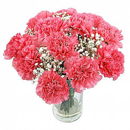 Sweet And Romantic Bouquet12 Pink Carnations