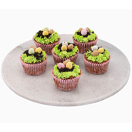 Tasty Easter Eggs Topped Chocolate Cup Cakes 6 Pcs