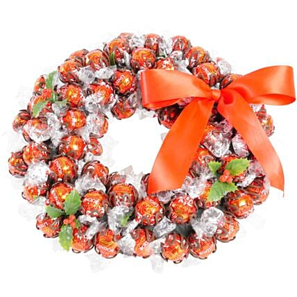 Traditional Red Lindt Chocolate Wreath