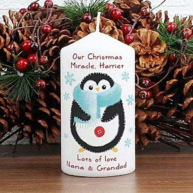 Personalized Felt Stitch Penguin Candle