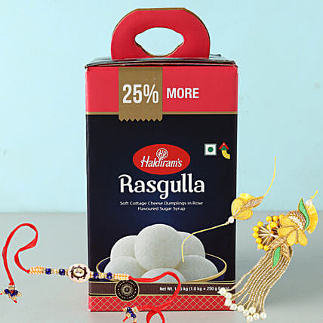 Bhaiya Bhabhi Rakhi Set And Rasgulla Combo