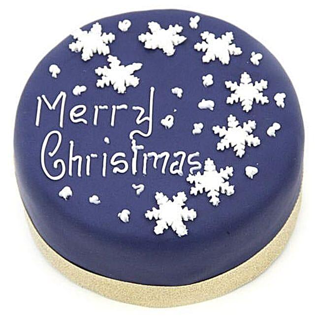 Blue Merry Christmas Cake