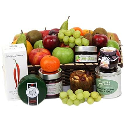 Hamper Of Fruits And Cheese:Gift Baskets in London, UK