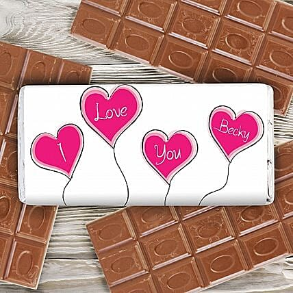 Personalized Heart Balloons Milk Chocolate