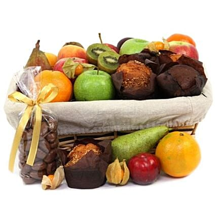 Fruit And Muffins Hamper:Send New Year Gifts to UK