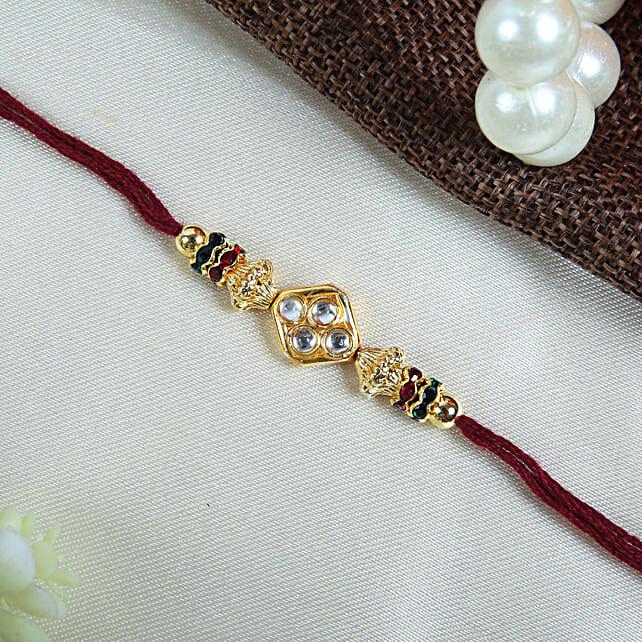 Elegant Cream Thread With Diamond Rakhi