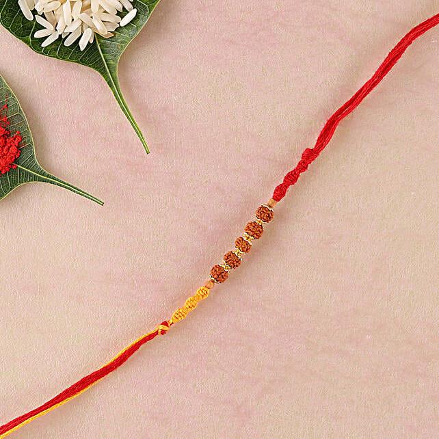 Yellow Red Rakhi Thread with Rudraksha