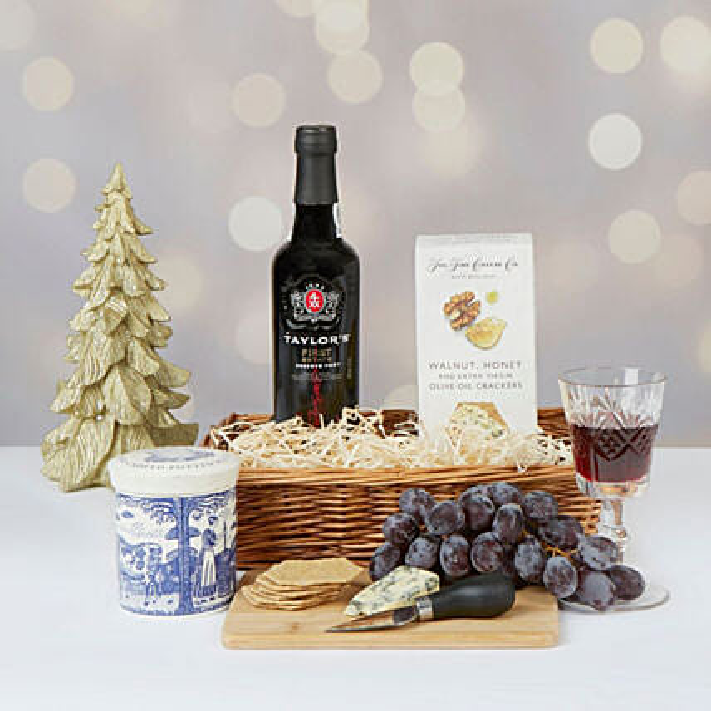 Port And Stilton Christmas Hamper:Send Wine Baskets to UK