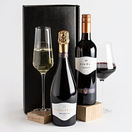 Prosecco And Red Wine Luxury Gift Hamper:Gift Baskets to UK