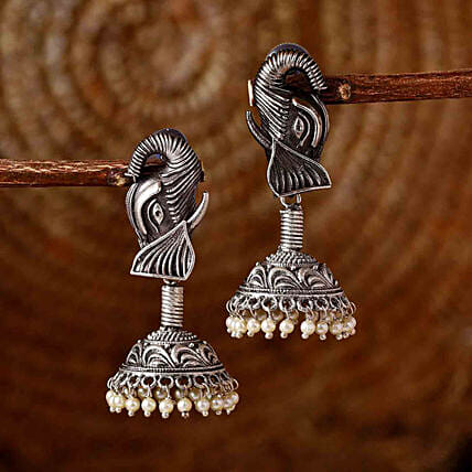 Classic Silver Oxidised Earrings:Send Karwa Chauth Gifts to UK