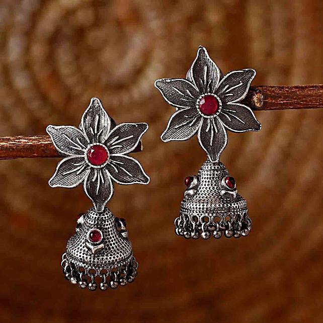 Flower Motif Silver Oxidised Earrings:Send Karwa Chauth Gifts to UK