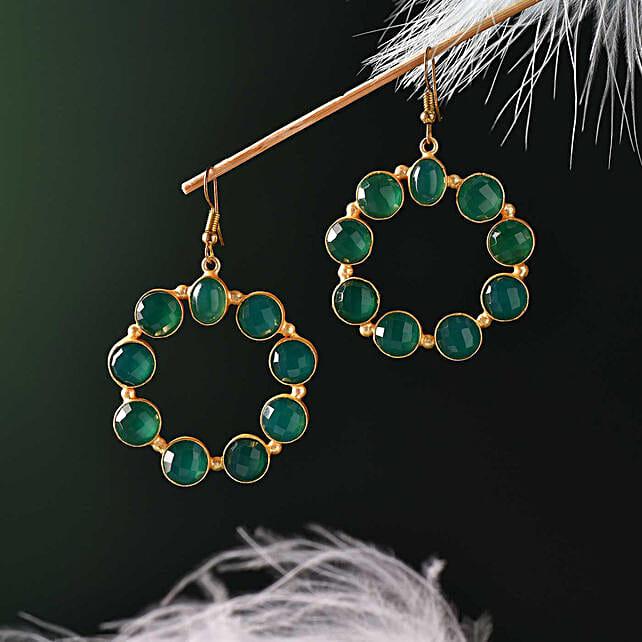Green Onyx Gold Polished Earrings