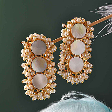 Mother Of Pearl Gold Polished Earrings