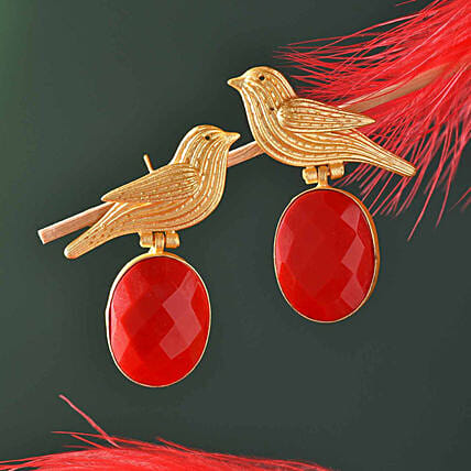 Red Onyx Gold Polished Earrings