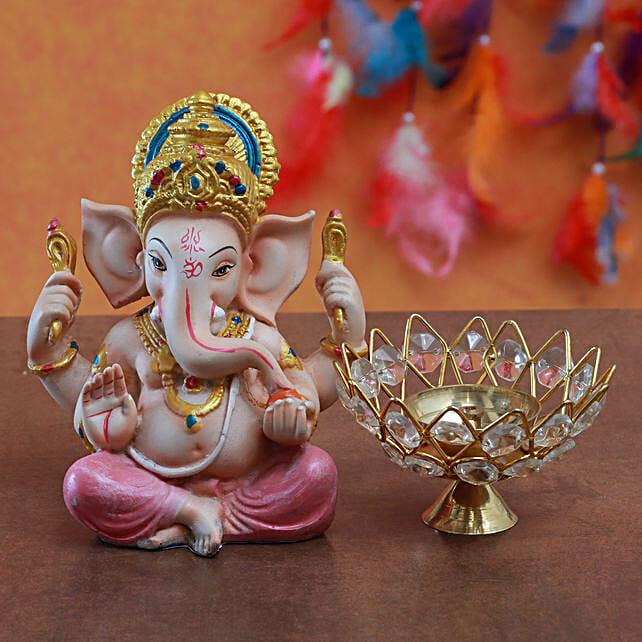 Combo Of Ganesha Idol And Lotus Akhand Jyoti Diya