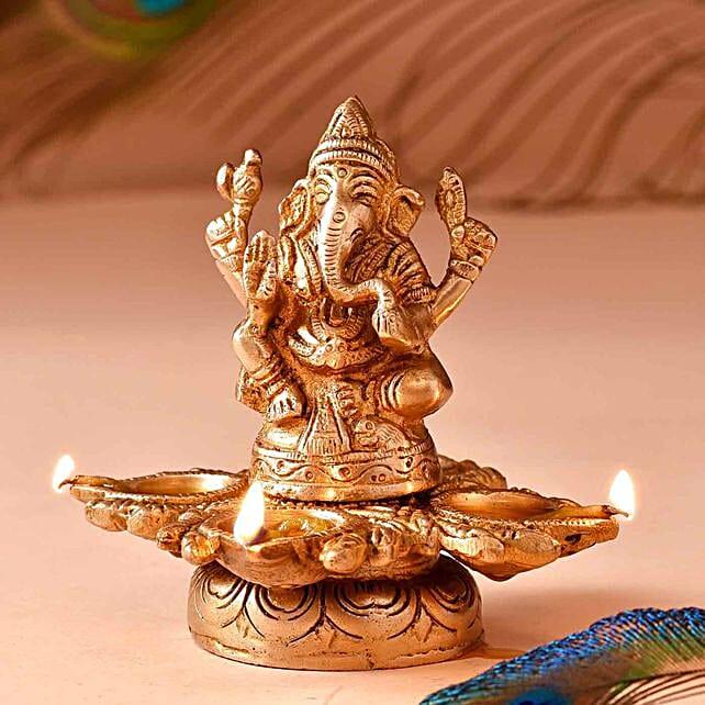 Lord Ganesha Brass Diya:Send Diwali Gifts to UK