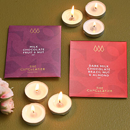 Milk And Dark Chocolate Bars With Beautiful Tealight Candles