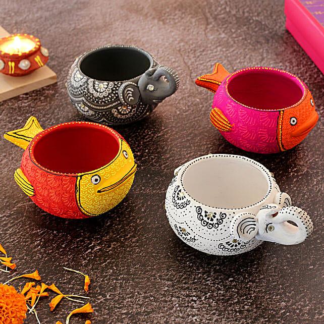 Elephant And Fish Diya Set Of 4:Send Diwali Gifts to UK