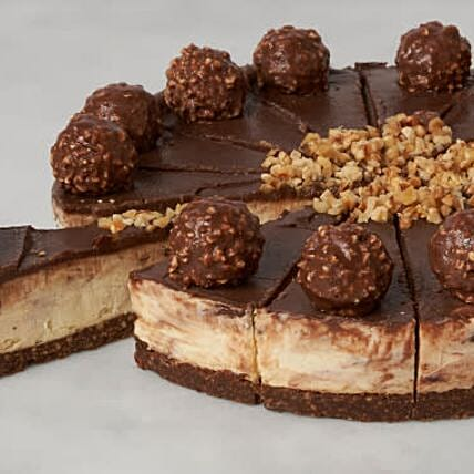 Vanilla Cheesecake With Ferrero Rocher And Nutella