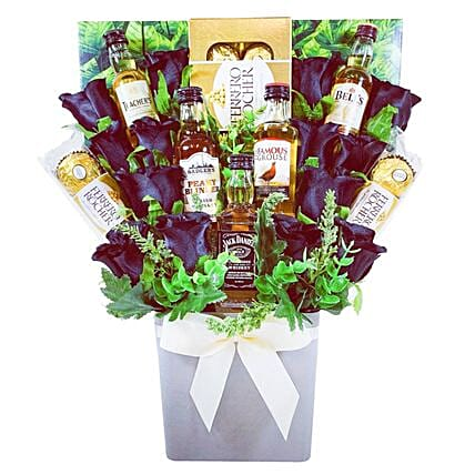 Whiskey Selection And Chocolates Bouquet
