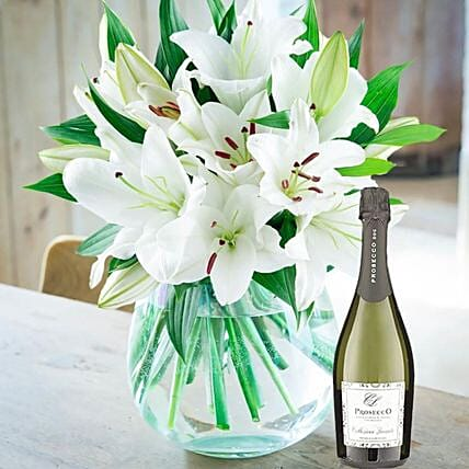 White Lily Bouquet With Prosecco Wine