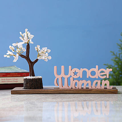 Wonder Woman Table Top and Rose Quartz Wish Tree