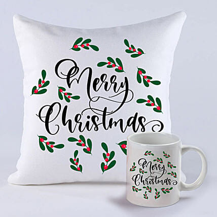 Pretty Merry Christmas Cushion And Mug:Christmas Gift Delivery in Ukraine