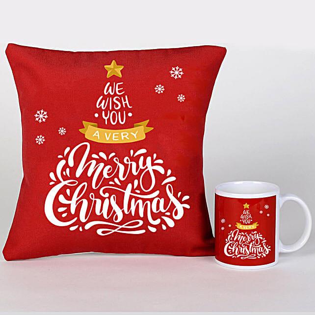 Xmas Greetings Cushion Mug And Cushion:Christmas Gift Delivery in Ukraine