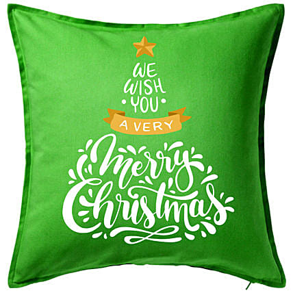 Xmas Greetings Green Cushion:Christmas Gift Delivery in Ukraine
