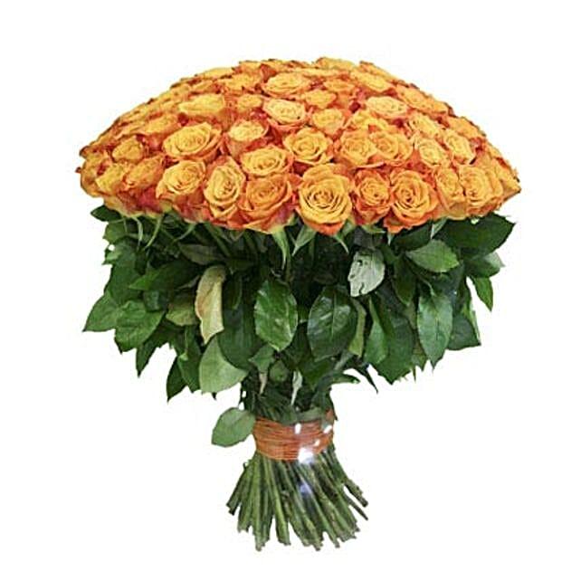 100 Long Stem Orange Roses