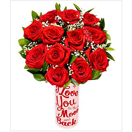 12 Long Stemmed Red Roses flowers birthday:Valentine's Day Gift Delivery in USA