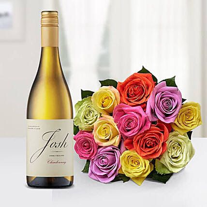 12 Mixed Roses Bouquet With Josh Cellars Wine:Send Wine Hampers to USA
