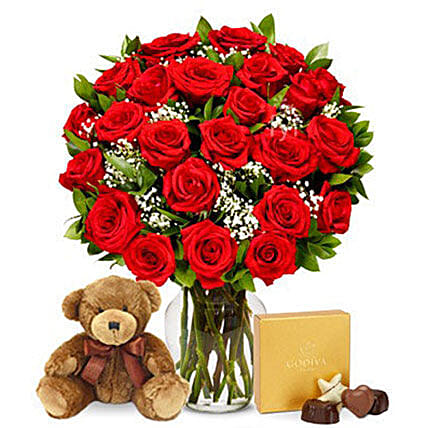 24 Red Roses Bouquet With Chocolates And Teddy:Soft Toys Delivery in USA