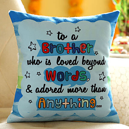 Online Printed Hindi Wishes Cushion For Brother:Personalised Cushions to USA