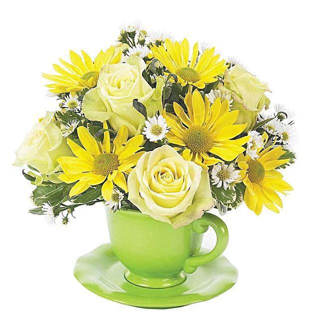 Appealing Assorted Flowers Planter Arrangement