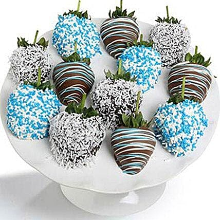 Baby Boy Chocolate Covered Strawberries 12 Pieces
