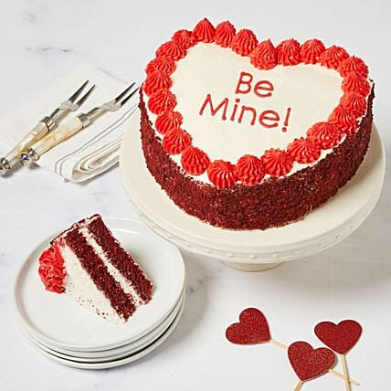 Be Mine Heart Shaped Red Velvet Chocolate Cake:Valentine's Day Gift Delivery in USA