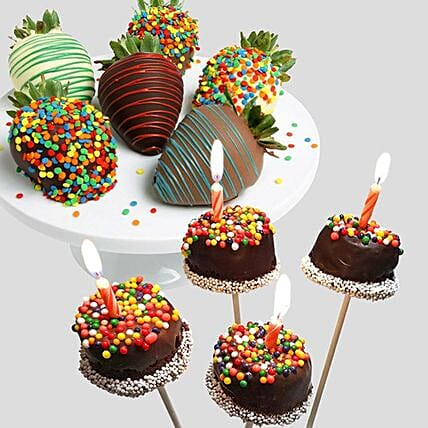 Belgian Chocolate Strawberries And Brownie Pops:Send Mother's Day Gift to USA