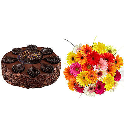 Happy Birthday Cake and Gerbera Daisies:Flower with Sweets to USA